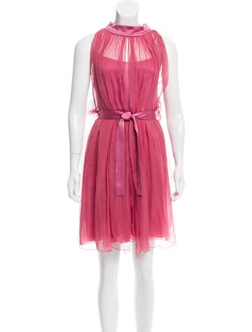 Alberta Ferretti Silk Gathered Dress w/ Tags