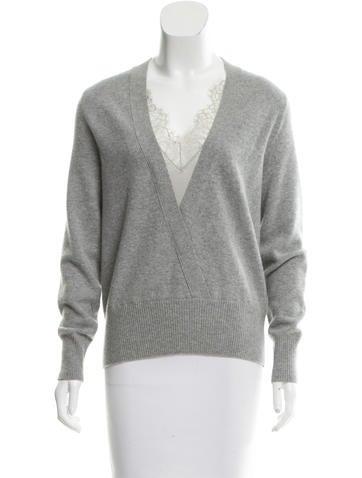 Alberta Ferretti Silk-Trimmed Cashmere Sweater w/ Tags None