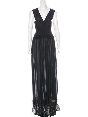 Alberta Ferretti Lace-Accented Pleated Dress w/ Tags