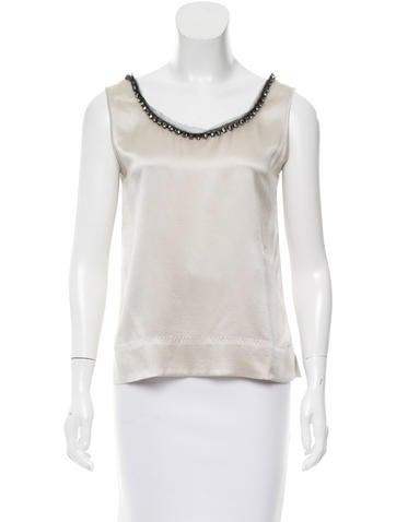 Alberta Ferretti Silk Embellished Top None