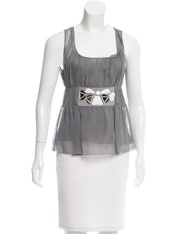 Alberta Ferretti Embellished Silk Top None