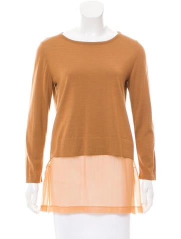 Alberta Ferretti Silk-Accented Wool Top None