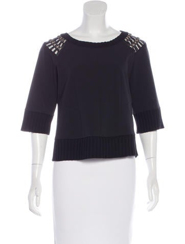 Alberta Ferretti Embellished Short Sleeve Top None