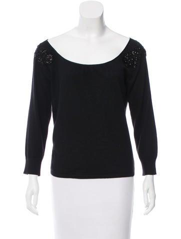 Alberta Ferretti Embellished Silk & Cashmere-Blend Top None