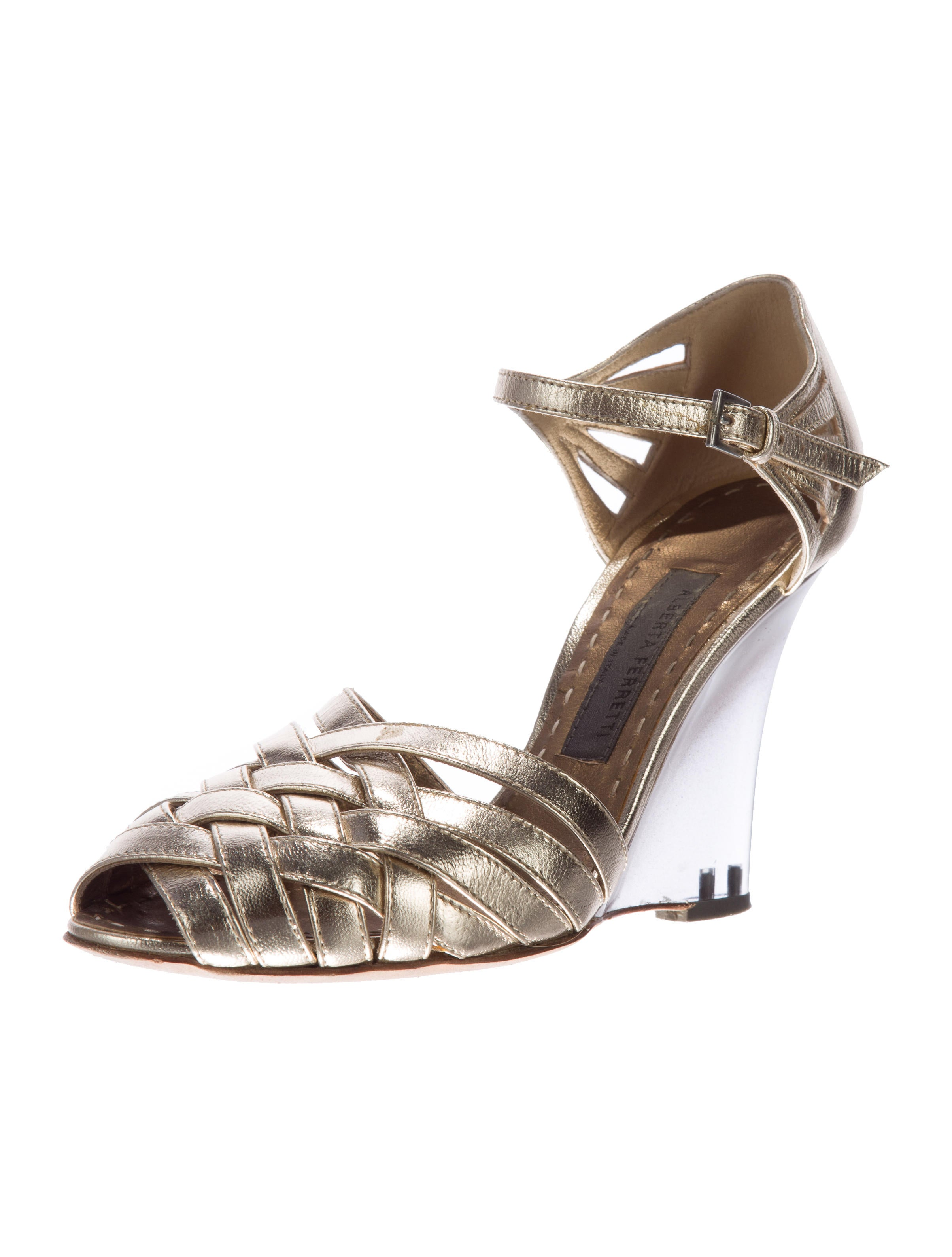 alberta ferretti metallic wedge sandals shoes alb24040