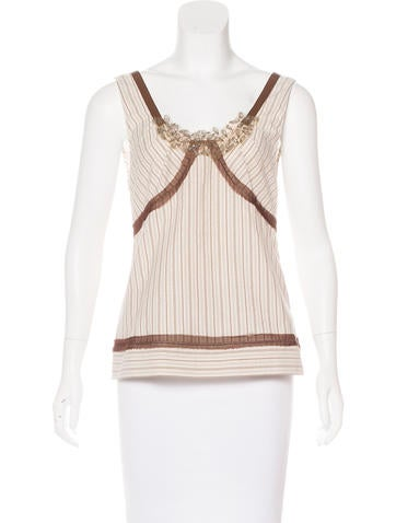 Alberta Ferretti Striped Embellished Top None