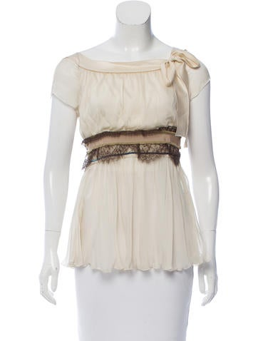 Alberta Ferretti Guipure Lace-Accented Silk Top None