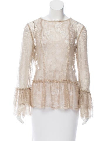 Alberta Ferretti Scalloped Guipure Lace Top None
