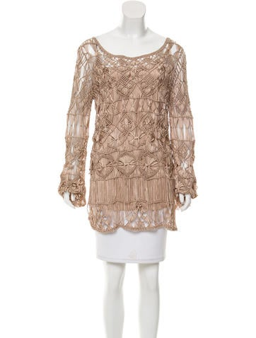 Alberta Ferretti Crocheted Long Sleeve Top None