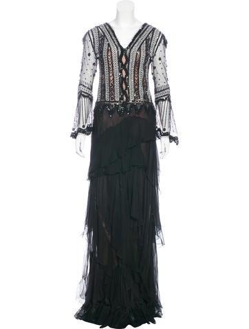 Alberta Ferretti Silk Bead-Embellished Gown None