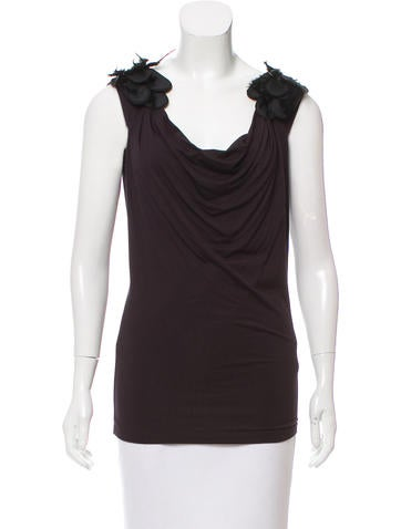 Alberta Ferretti Feather-Accented Sleeveless Top None