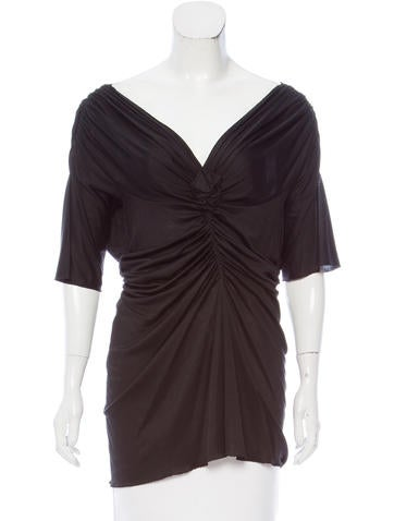 Alberta Ferretti Silk Ruched Top None