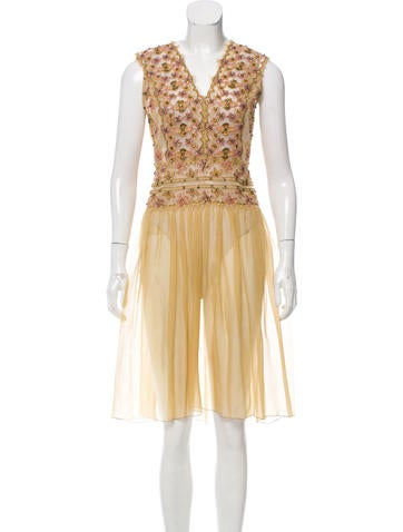 Alberta Ferretti Silk Embellished Dress None