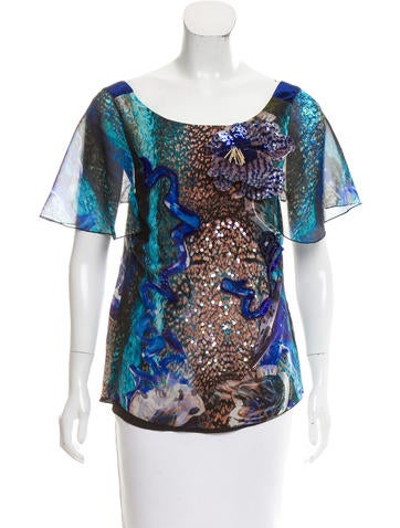 Alberta Ferretti Sequined Silk Top None