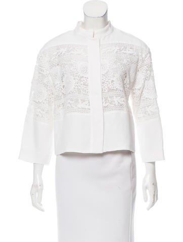 Alberta Ferretti Lace-Paneled Long Sleeve Top None