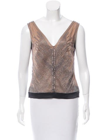 Alberta Ferretti Silk Embellished Top None