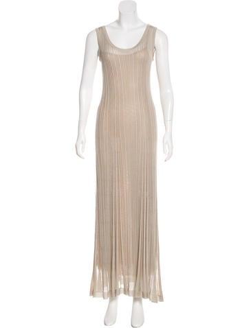 Alberta Ferretti Rib Knit Maxi Dress None