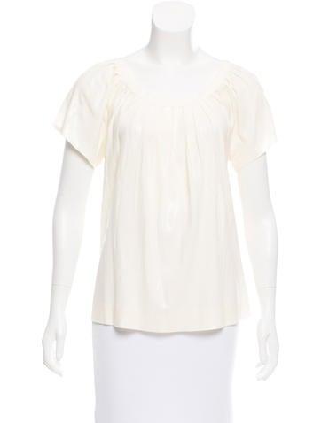Alberta Ferretti Short Sleeve Pintucked Top None