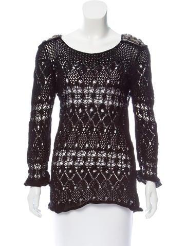Alberta Ferretti Embellished Open Knit Sweater None
