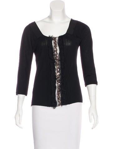 Alberta Ferretti Embellished Wool Top None
