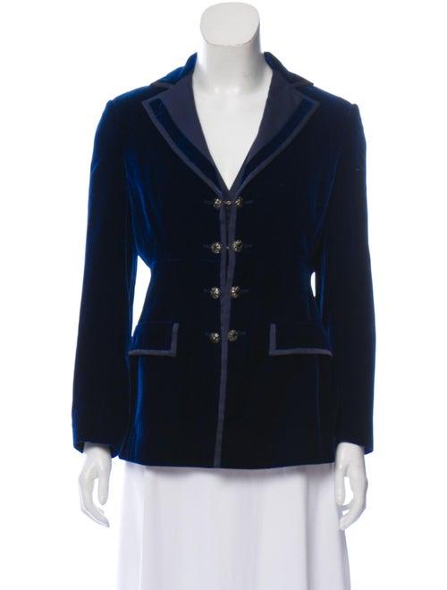Alberta Ferretti Notch-Lapel Velvet Jacket Navy