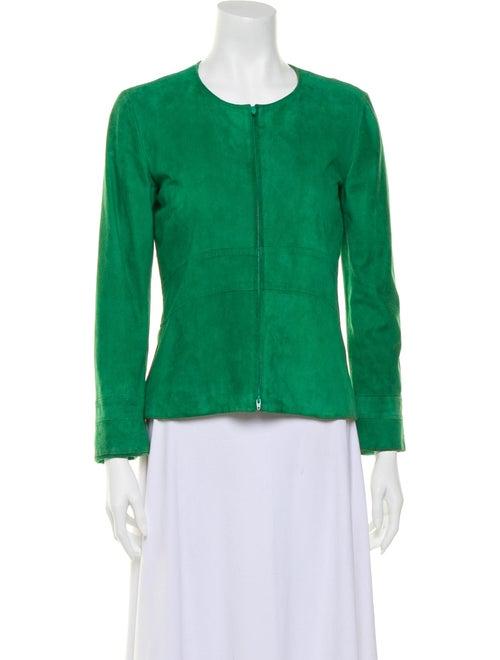 Alberta Ferretti Suede Collarless Jacket green