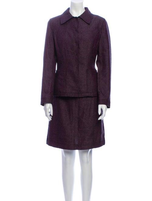 Alberta Ferretti Wool Tweed Pattern Skirt Suit Woo