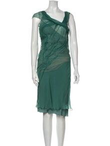 Alberta Ferretti Silk Midi Length Dress