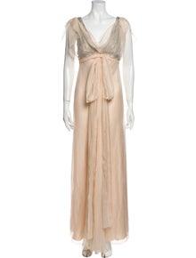 Alberta Ferretti Silk Long Dress