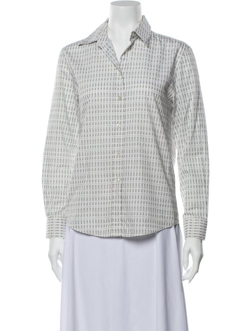Alexachung Printed Long Sleeve Button-Up Top White