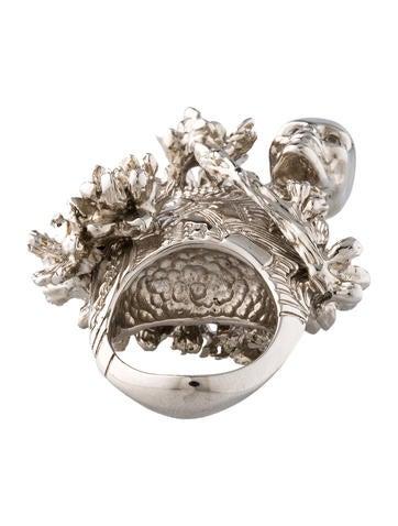 Skull and Cherry Blossom Ring