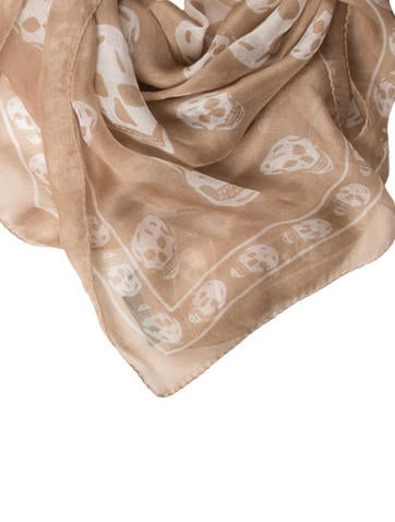 Silk Skull Print Scarf