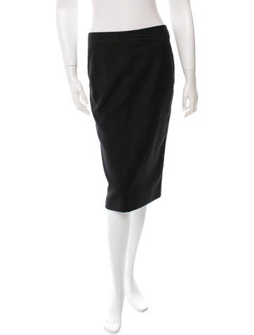 Alexander McQueen Wool Pencil Skirt None