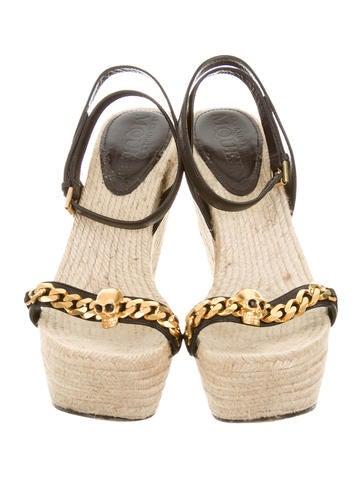 Skull Embellished Wedge Sandals