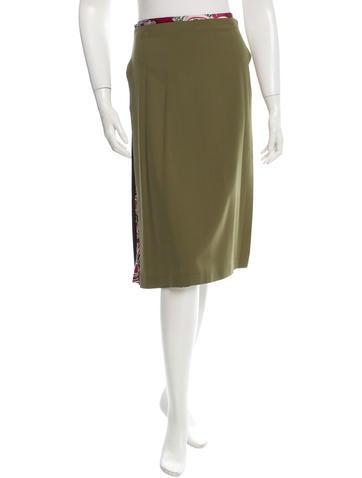 Alexander McQueen Wool & Printed Knee-Length Skirt None