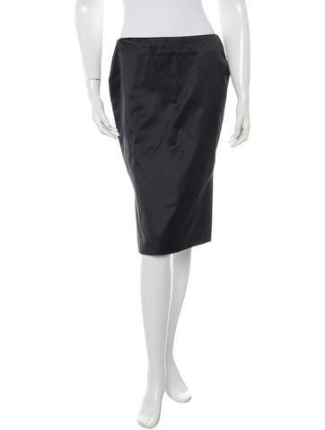 Alexander McQueen Silk Blend Pencil Skirt