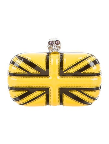 Yellow Union Jack Skull Box Clutch