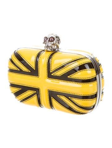 Yellow Union Jack Skull Box Clutch