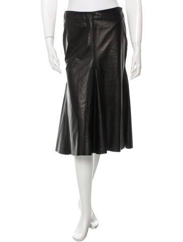 Alexander McQueen Leather Knee-Length Skirt None