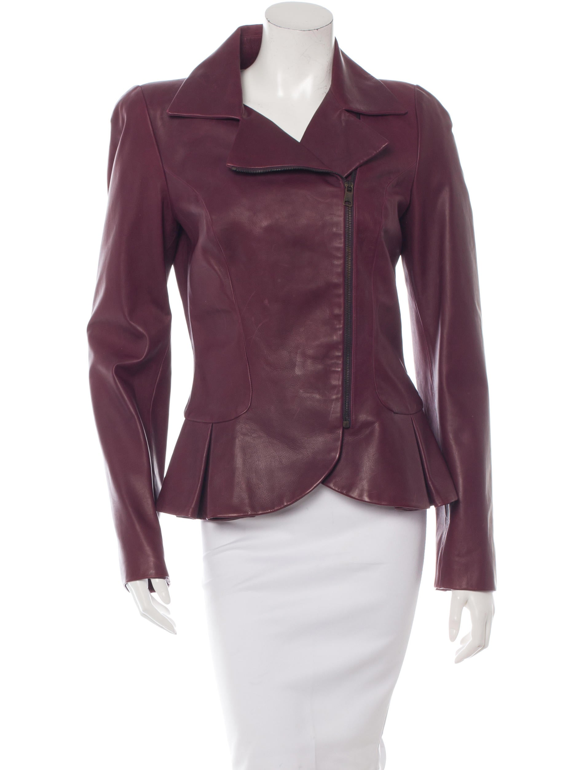 More Details Elie Saab Zip-Front Belted Leather Peplum Jacket with Stud Details Details Elie Saab jacket in lambskin leather with stud details. Stand collar; zip front. Stand collar; zip front. Long sleeves; zip cuffs.