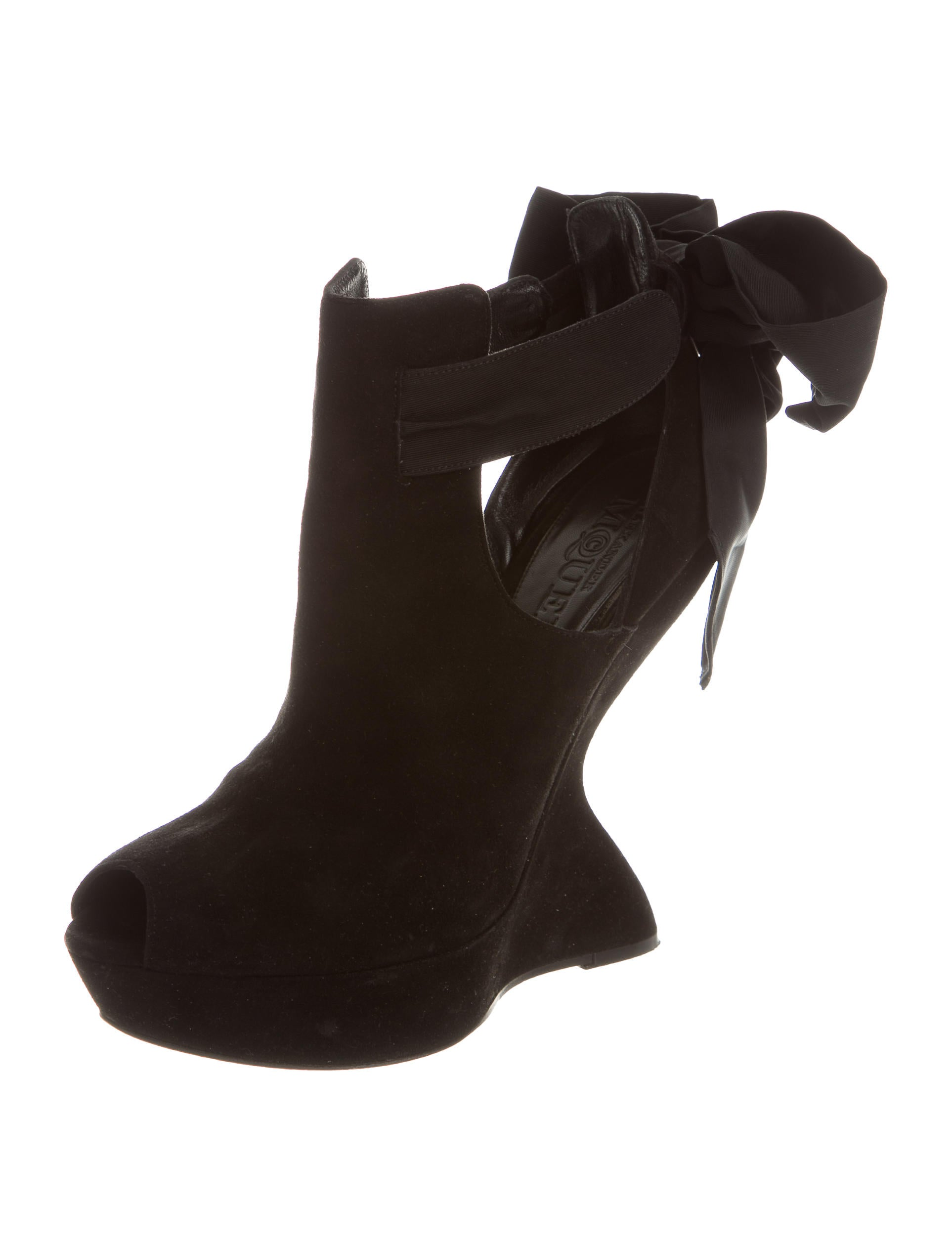 mcqueen bow accented wedge booties shoes