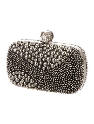 Studded Patchwork Skull Box Clutch