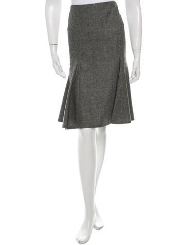 Alexander McQueen Wool Flounce Knee-Length Skirt None