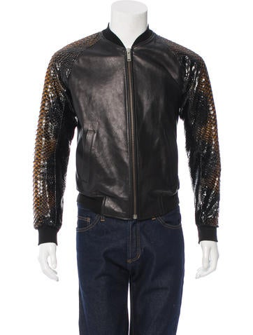 Alexander McQueen Leather & Python Bomber Jacket None