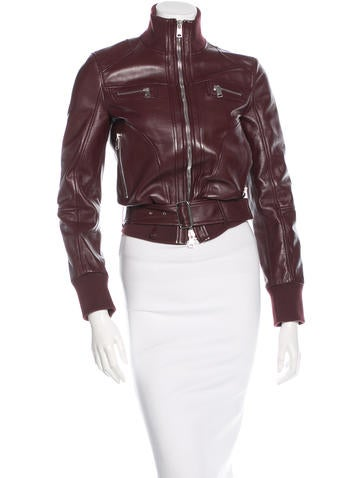 Alexander McQueen Leather Rib Knit-Trimmed Jacket None