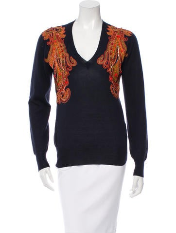 Alexander McQueen Embellished Cashmere Sweater None