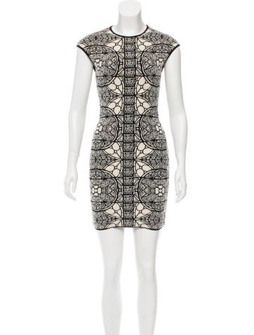 Alexander McQueen Patterned Wool-Blend Dress