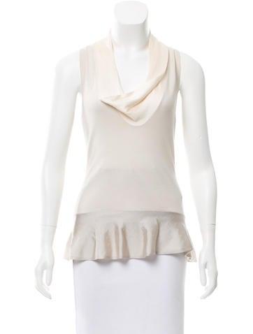 Alexander McQueen Silk-Trimmed Wool Top None