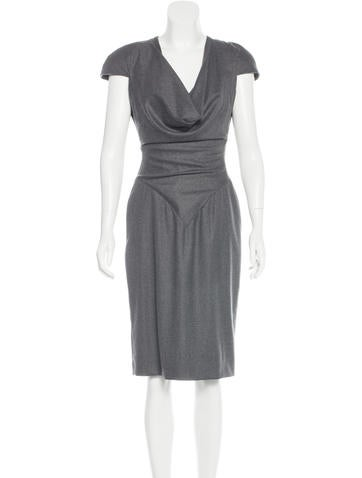 Alexander McQueen Wool Cowl Neck Dress