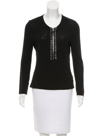 Alexander McQueen Wool Zip-Up Top None